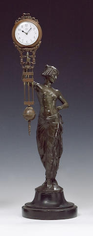 An unusual swinging mystery clock depicting a spelter lady Junghans, Germany, early 20th century