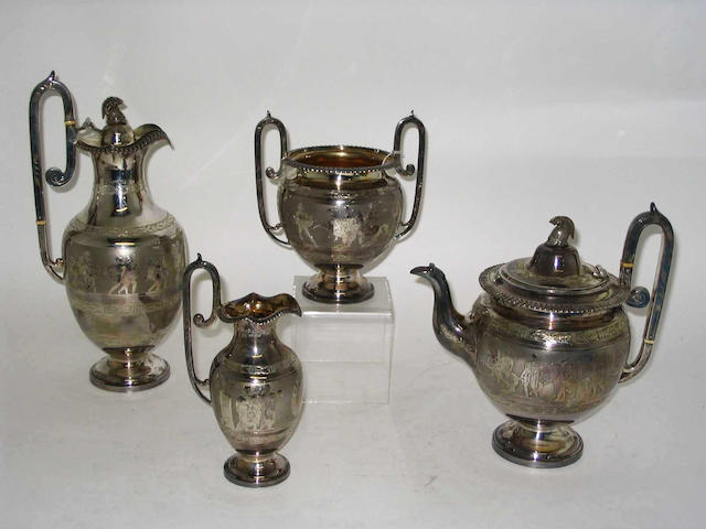 """A Victorian four piece neo classical style tea set, Maker's mark """"CB EP"""", Sheffield, 1879,"""