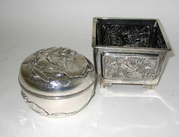 "A 20th Century Oriental box and cover By Arthur and Bond, Yokohama, stamped ""Sterling"","