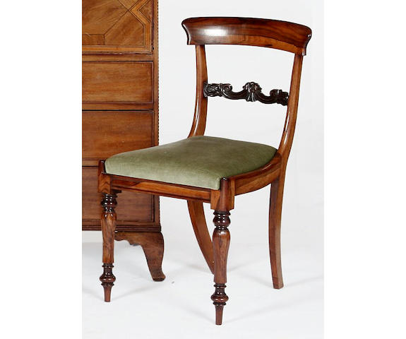 A set of four William IV 19th Century rosewood dining chairs,