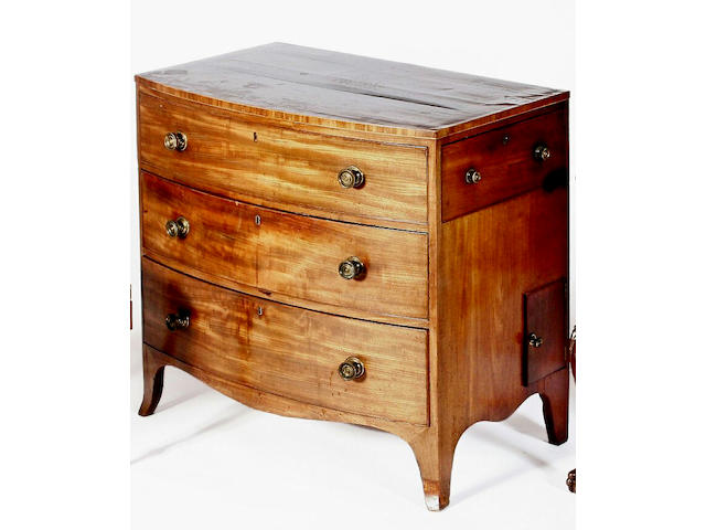 A late George III mahogany bowfront chest of drawers,