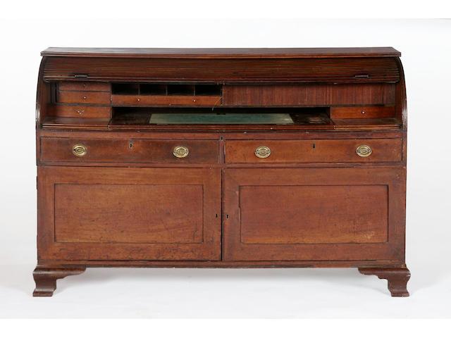 A Regency mahogany tambour-fronted bureau,