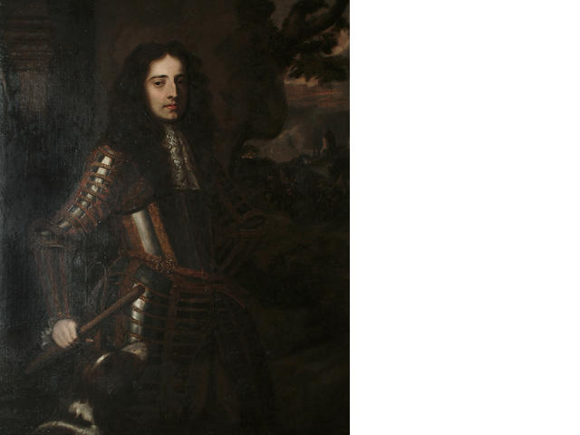 After Sir Peter Lely Portrait three quarter length of Prince William of Orange, wearing armour and h