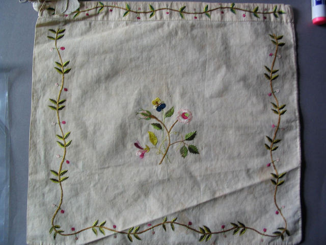 A late 18th Century French embroidered drawstring cotton bag