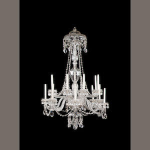 A George III/early 19the century cut glass eighteen light chandelier