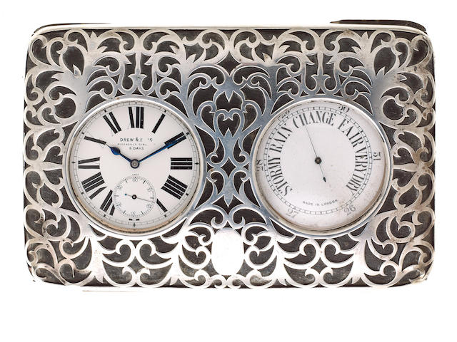 An Edwardian silver mounted watch and pocket barometer desk stand, by William Comyns, London 1903,