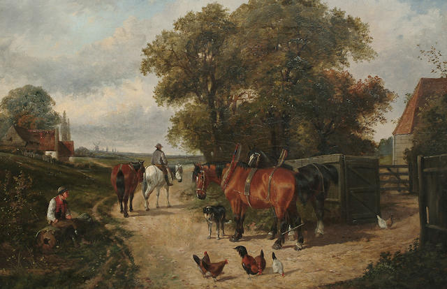 Attributed to Henry Charles Woollett Landscape with figures and carthorses  outside a farmstead, 50