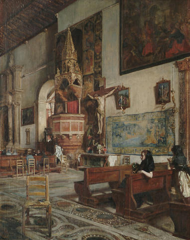 Scipione Vannutelli (Italian, 1834-1894) Figures in a church interior, 47 x 36 cm (18 1/2 x 14 1/8 i