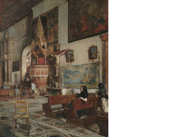 Scipione Vannutelli (Italian, 1834-1894) Figures in a church interior, 47 x 36 cm (18 1/2 x 14 1/8 i
