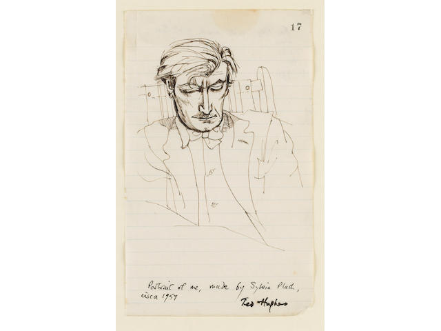 HUGHES, TED (1930-1998, poet, O.M.) PORTRAIT BY SYLVIA PLATH (1932-1963),