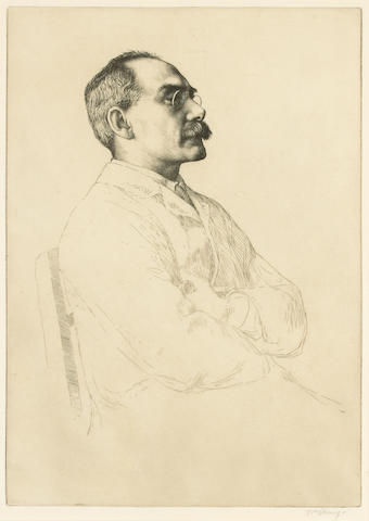 KIPLING, RUDYARD (1865-1936, poet, novelist, Nobel Prize winner for Literature) PORTRAIT BY WILLIAM STRANG R.A., R.E., R.P. (1859-1921),