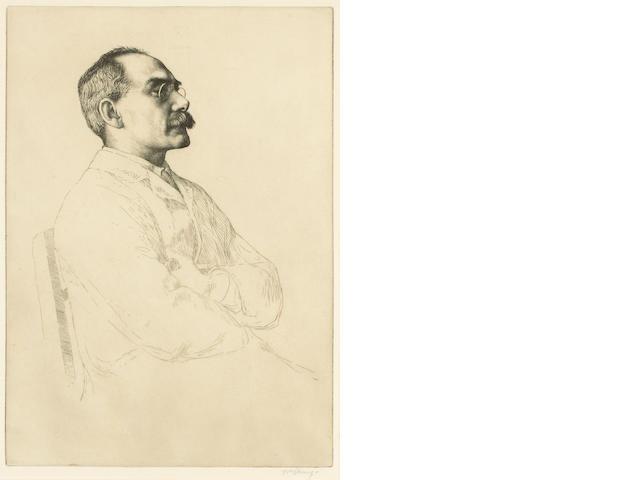 KIPLING, RUDYARD (1865-1936, poet, novelist, Nobel prize winner for Literature) PORTRAIT BY WILLIAM
