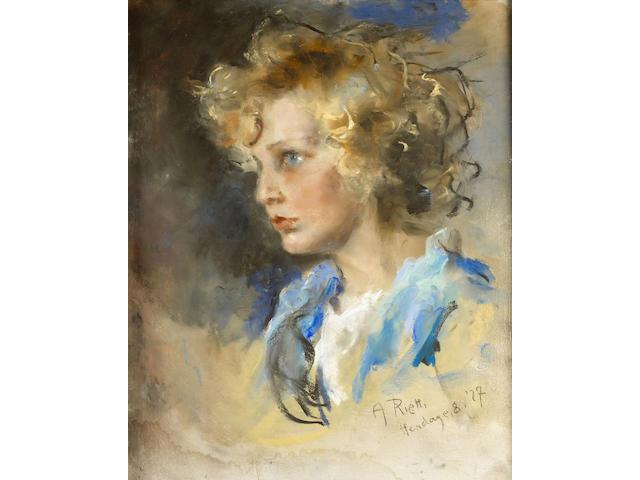 Arturo Rietti (1863-1947) portrait of Roland Bugatti,