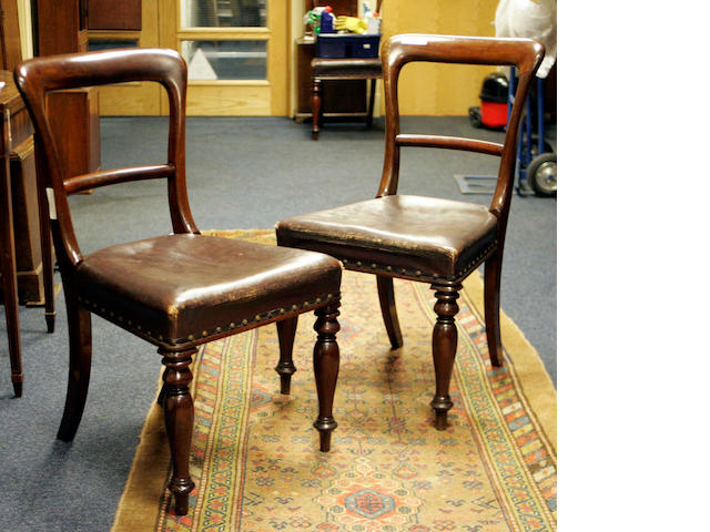 A set of seven Victorian mahogany Dining Chairs and one similar,