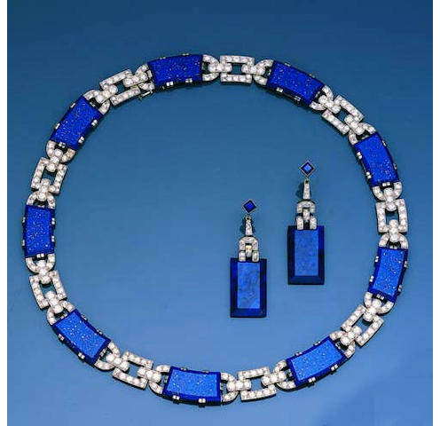 An art deco lapis lazuli and diamond demi-parure,