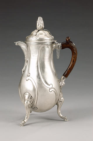 A mid 18th century Belgian silver chocolate pot, maker's mark BC below a crown, Brussels 1761,