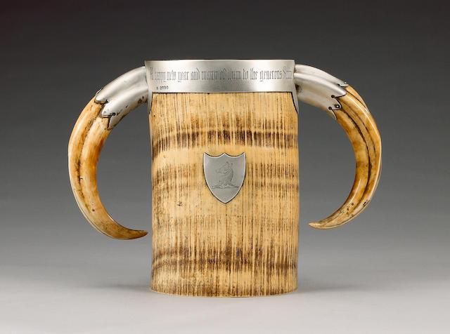 A Victorian silver mounted elephant tusk presentation trophy / drinking vessel, maker's mark mistruck, London 1881,