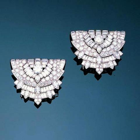 An impressive art deco diamond double-clip brooch,, by Cartier London,