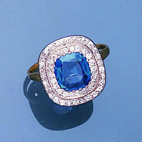 An early 20th century Kashmir sapphire and diamond ring