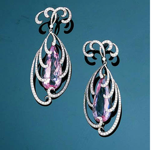 A pair of morganite and diamond pendent earrings