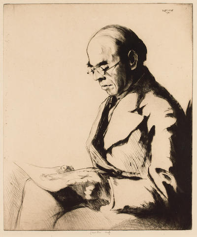 ROTHENSTEIN, Sir WILLIAM (1872-1945, artist teacher of art and arts administrator, friend of Sir Max Beerbohm, N.E.A.C., R.P.) PORTRAIT BY ERNEST STEPHEN LUMSDEN R.S.A., R.E. (1883-1948),