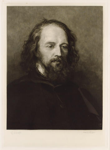 TENNYSON, ALFRED, Lord (1809-1892, poet, Port Laureate) PORTRAIT BY SIR FRANK SHORT R.A., P.R.E. (1857-1945) AFTER GEORGE FREDERIC WATTS O.M., R.A. (1817-1904),