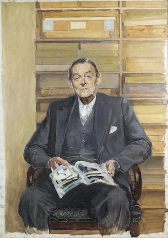 ELIOT, T[HOMAS] S[TEARNS] (1888-1965, American-born poet and literary critic, O.M.) PORTRAIT BY SIR