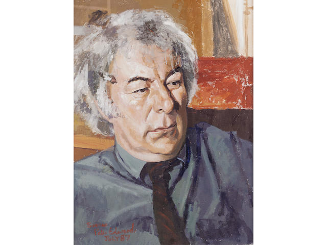 HEANEY, SEAMUS (b. 1939, poet, Nobel prize-winner for Literature 1995) PORTRAIT BY PETER EDWARDS (b.
