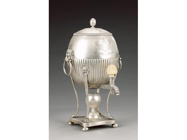 A silver hot water urn by Paul Storr, 1814, 4 pieces