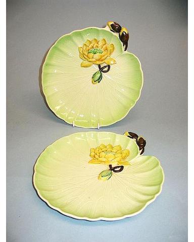 A pair of Carlton Ware waterlily plates circa 1930,