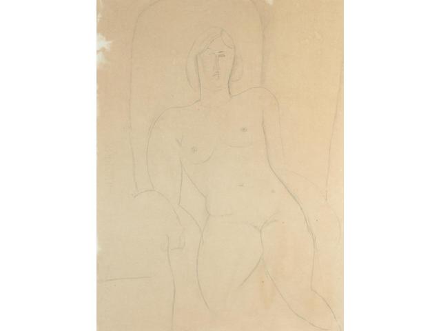 Amedeo Modigliani (1884-1920) Nu dans un fauteuil - portrait présumé de 'Mado' 64.2 x 49 cm. (25 1/4 x 19 1/4 in.)