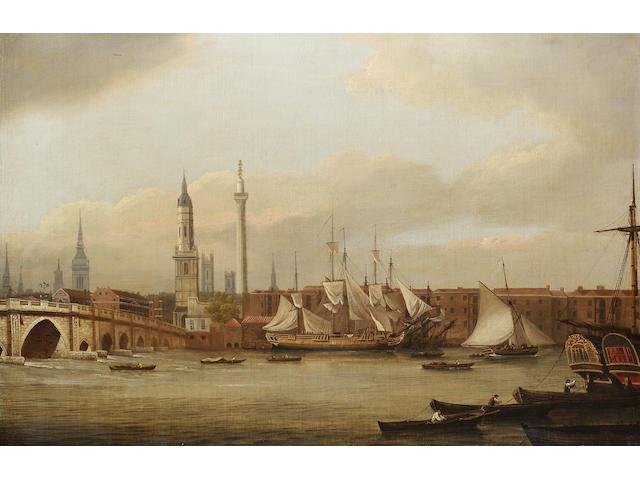 William P. Sherlock (British, b.c.1780) The Thames at London Bridge ?? 57.2 x 86.3cm. (22 1/2 x 34in