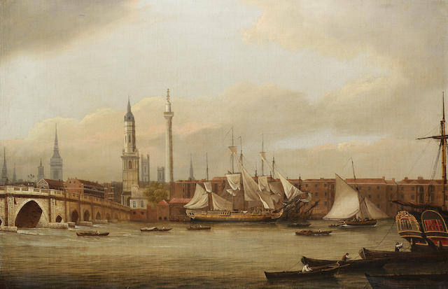 William P. Sherlock (British, b.c.1780) Shipping lying in the Thames below Old London Bridge 57.2 x 86.3cm. (22 1/2 x 34in.)