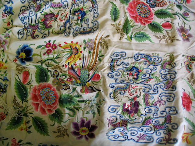A 19th Century Cantonese embroidered both sides alike cream silk shawl