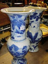 Two blue and white baluster vases Decorated with deer, birds and gnarled pines, 46cm high. (one A/F) (2)