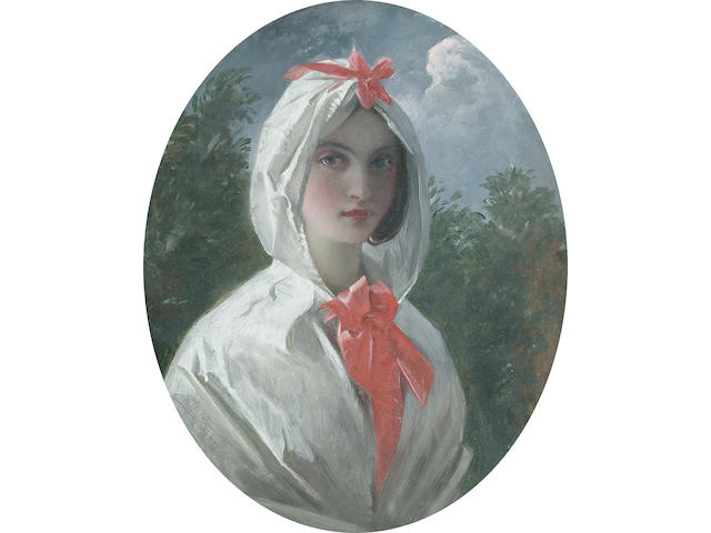 Attributed to Charles Robert Leslie Portrait of a beautiful young woman, bust length, wearing a white cape with a red bow, 30.3 x 24.8 (11 7/8 x 9 3/4 in)