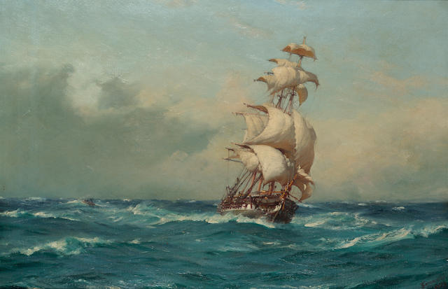 Thomas Jacques Somerscales (British, 1842-1927) In full sail - the 'Lautaro' ??? 50.5 x 76cm. (19 7/