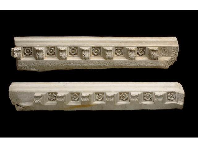 Two Roman marble relief cornice panels 2