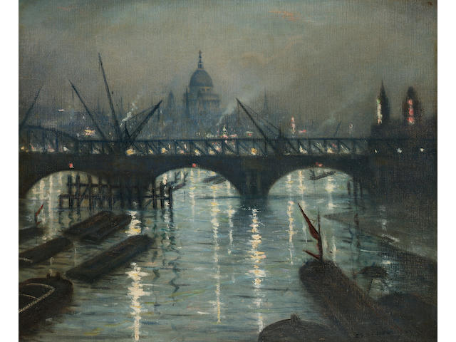 Christopher Richard Wynne Nevinson A.R.A. (1889-1946) City of London from Waterloo Bridge 50.5 x 61 cm. (19 7/8 x 24 in.)
