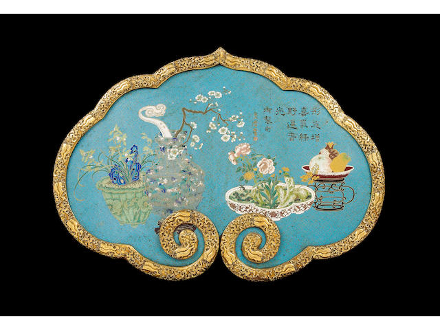 A very fine and large cloisonné enamel and gilt bronze ruyi-shaped panel Qianlong