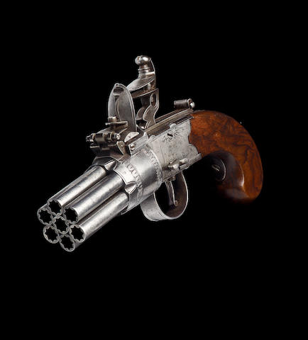 A Very Rare Seven-Barrelled Flintlock Box-Lock Pepperbox Revolver
