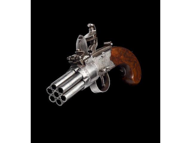 A Very Rare Seven-Barrelled Flintlock Box-Lock Pepperbox Revolver