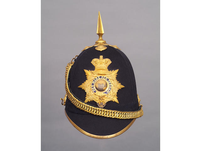 A superb Royal Marine Light Infantry officer's blue cloth home service pattern helmet