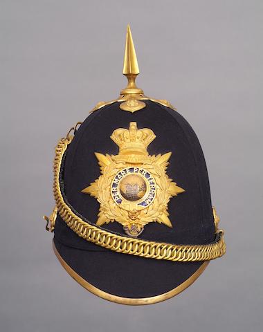 A superb Royal Marine Light Infantry officer's blue cloth home service pattern helmet