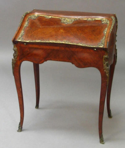A 19th Century Louis XV style kingwood, crossbanded line and foliate marquetry inlaid bureau de dame