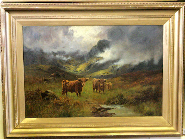 O* Hindmarsh (20thc) Highland cattle in the mist