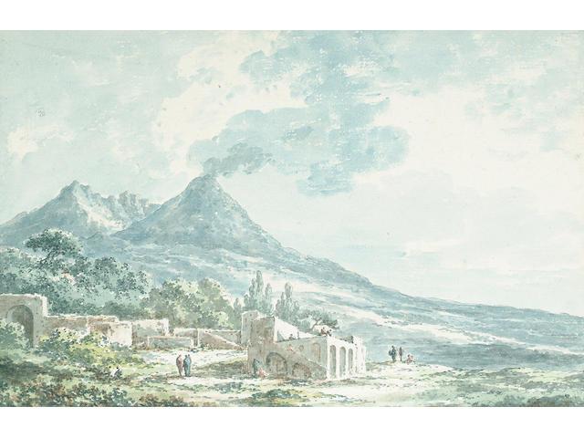 Claude-Louis Chatelet (Paris 1753-1794) Mount Vesuvius from Portici, 15 x 22.6 cm (5 7/8 x 8 7/8 in)