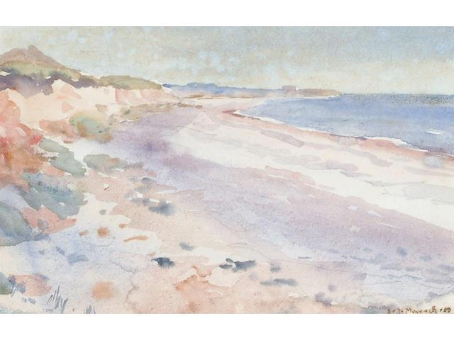 Sir Alfred Munnings (British, 1878-1959) Coastal view 15.5 x 24cm (6 x 9 1/2in)
