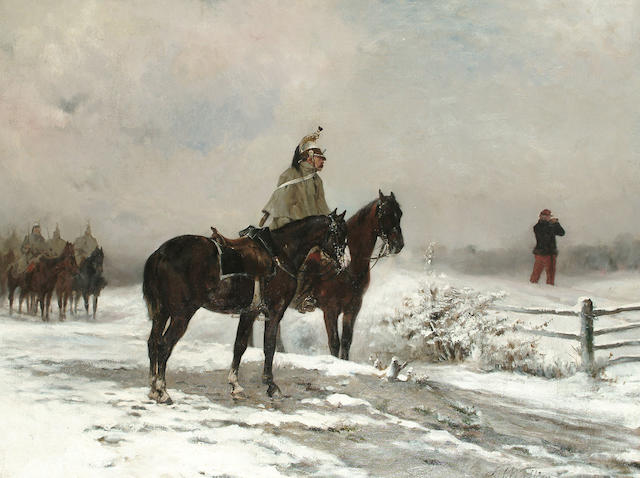 James Alexander Walker (British, 1841-1898) Officer Reconnoitring, 49 x 64.5 cm (19 1/4 x 25 3/8 in)