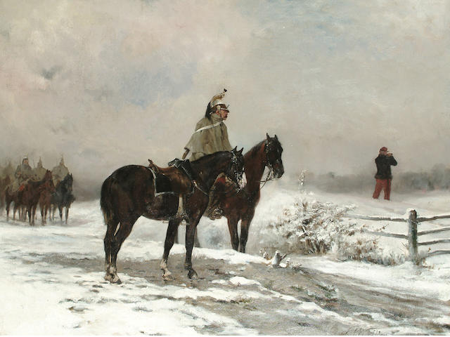 James Alexander Walker (British, 1841-1898) Officer Reconnoitering, 49 x 64.5 cm (19 1/4 x 25 3/8 in